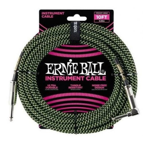 ERNIE BALL EB6077 TRENZADO BLACK GREEN 3M