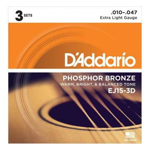 D'ADDARIO EJ15/3D PACK 3 SETS PHOSPHOR BRONZE (10-47)