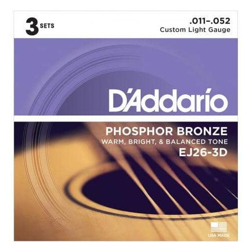 D'ADDARIO EJ26/3D PACK 3 SETS PHOSPHOR BRONZE (11-52)