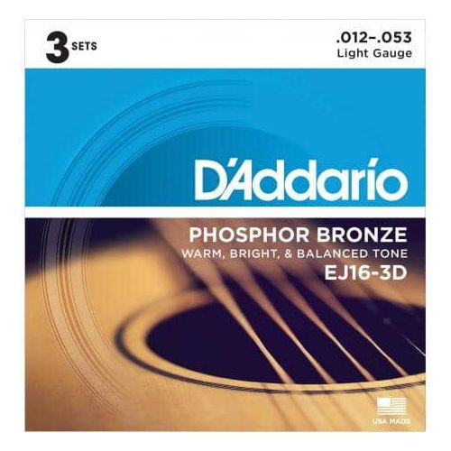 D'ADDARIO EJ16/3D PACK 3 SETS PHOSPHOR BRONZE (12-53)